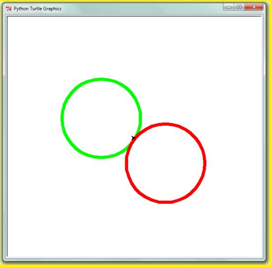 Deux cercles en sens contraires turtle